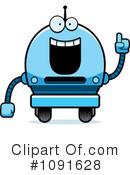 Royalty-Free (RF) Blue Robot Clipart Illustration #1091628