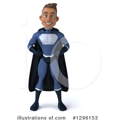 Royalty-Free (RF) Blue Super Hero Clipart Illustration by Julos - Stock Sample #1296153