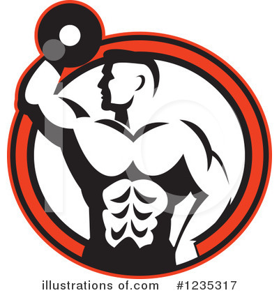 Royalty-Free (RF) Bodybuilder Clipart Illustration by patrimonio - Stock Sample #1235317