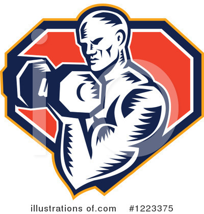 Royalty-Free (RF) Bodybuilding Clipart Illustration by patrimonio - Stock Sample #1223375