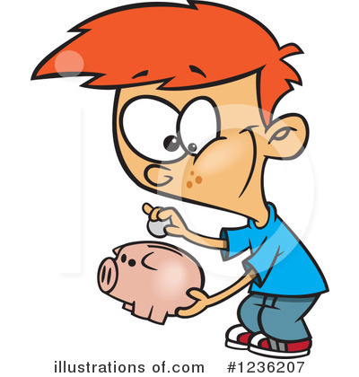 Piggy Bank Clipart #1236207 by toonaday