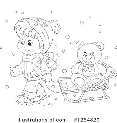 Sledding Clipart #1254829 by Alex Bannykh