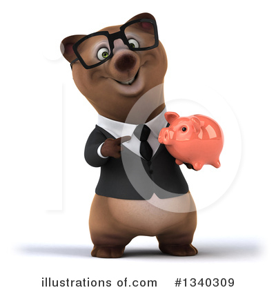 Brown Business Bear Clipart #1340309 by Julos