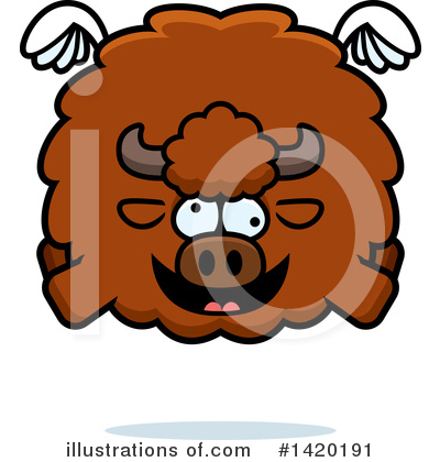 Winged Buffalo Clipart #1420191 by Cory Thoman