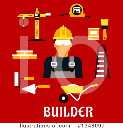 Royalty-Free (RF) Builder Clipart Illustration by Vector Tradition SM - Stock Sample #1348097
