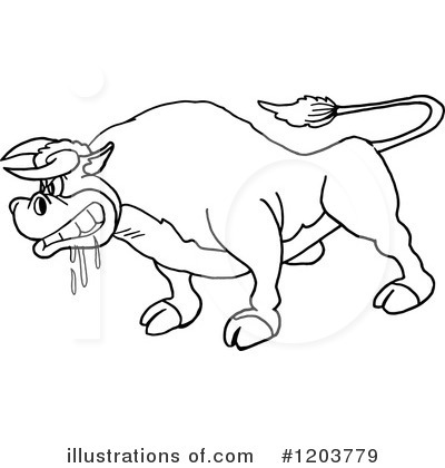 Royalty-Free (RF) Bull Clipart Illustration by LaffToon - Stock Sample #1203779