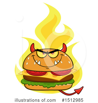 Royalty-Free (RF) Burger Clipart Illustration by Hit Toon - Stock Sample #1512985