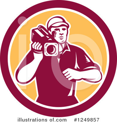 Royalty-Free (RF) Camera Man Clipart Illustration by patrimonio - Stock Sample #1249857