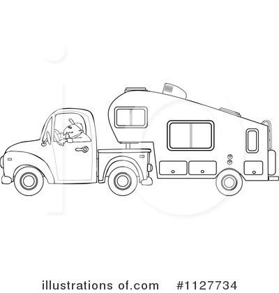 1127734 Royalty Free Camper Clipart Illustrationon Pickup Trucks Vehicle