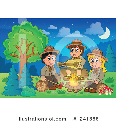 Royalty-Free (RF) Camping Clipart Illustration by visekart - Stock Sample #1241886