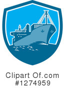 Royalty-Free (RF) Cargo Ship Clipart Illustration #1274959