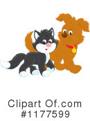 Royalty-Free (RF) cat and dog Clipart Illustration #1177599