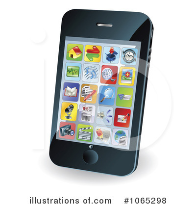 Cell Phone Clipart #1065298 - Illustration by AtStockIllustration