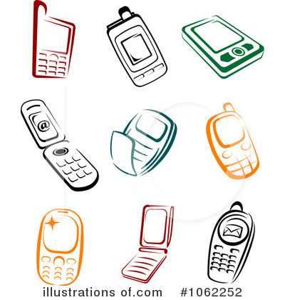 Cell Phones Clipart #1062252 - Illustration by Vector Tradition SM