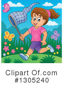 Royalty-Free (RF) Chasing Butterflies Clipart Illustration #1305240