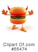 Royalty-Free (RF) Cheeseburger Character Clipart Illustration #55474