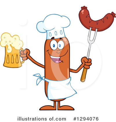 Royalty-Free (RF) Chef Sausage Clipart Illustration by Hit Toon - Stock Sample #1294076