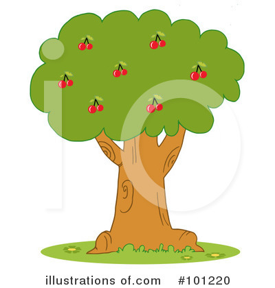 Royalty-Free (RF) Cherry Tree Clipart Illustration by Hit Toon - Stock Sample #101220