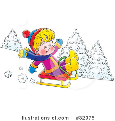 Sledding Clipart #32975 by Alex Bannykh