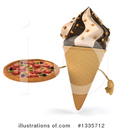 Waffle Ice Cream Cone Character Clipart #1335712 by Julos