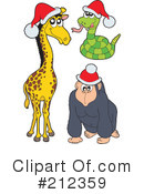 Royalty-Free (RF) Christmas Animals Clipart Illustration #212359
