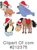 Royalty-Free (RF) Christmas Animals Clipart Illustration #212375