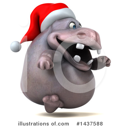 Christmas Hippo Clipart #1437588 by Julos