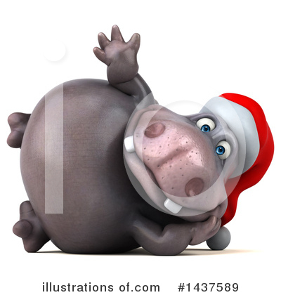 Christmas Hippo Clipart #1437589 by Julos
