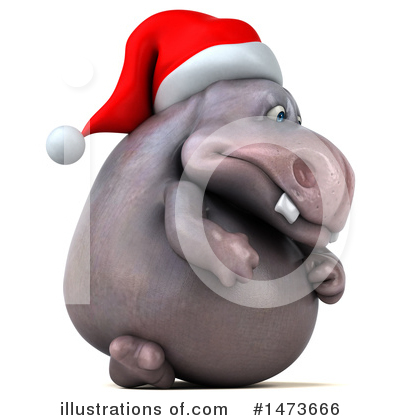Christmas Hippo Clipart #1473666 by Julos