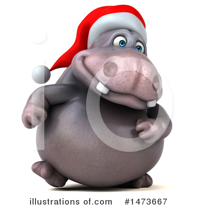 Christmas Hippo Clipart #1473667 by Julos