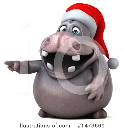 Christmas Hippo Clipart #1473669 by Julos