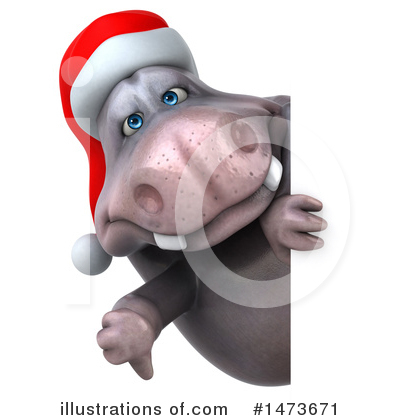 Christmas Hippo Clipart #1473671 by Julos
