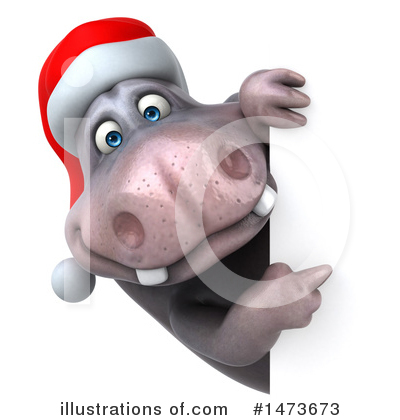 Christmas Hippo Clipart #1473673 by Julos
