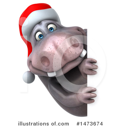 Christmas Hippo Clipart #1473674 by Julos