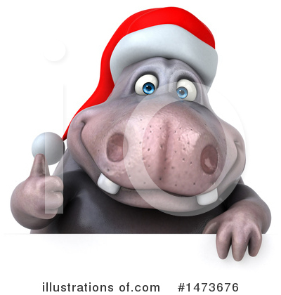 Christmas Hippo Clipart #1473676 by Julos