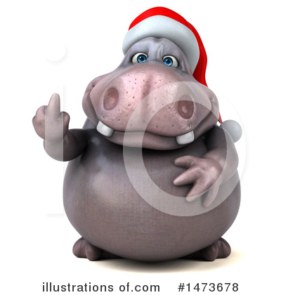 Christmas Hippo Clipart #1473678 by Julos