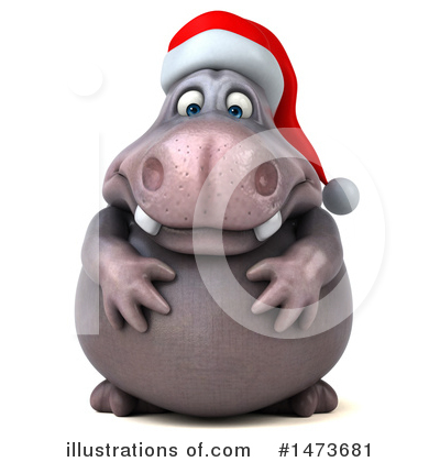 Christmas Hippo Clipart #1473681 by Julos
