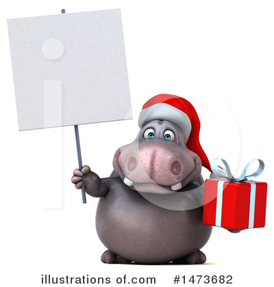 Christmas Hippo Clipart #1473682 by Julos