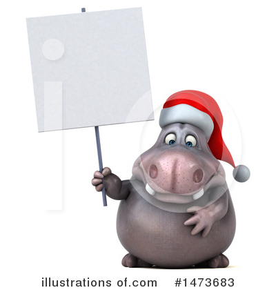 Christmas Hippo Clipart #1473683 by Julos