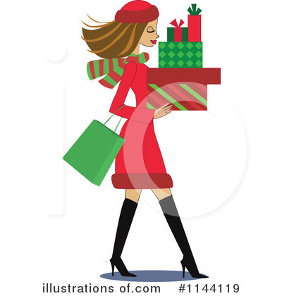 Royalty-Free (RF) Christmas Shopping Clipart Illustration by peachidesigns - Stock Sample #1144119