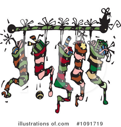 Christmas Stockings Clipart #1091719 by Steve Klinkel