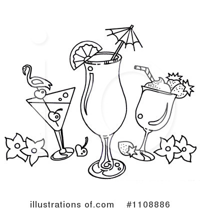 Cocktail Clip Art Black and White