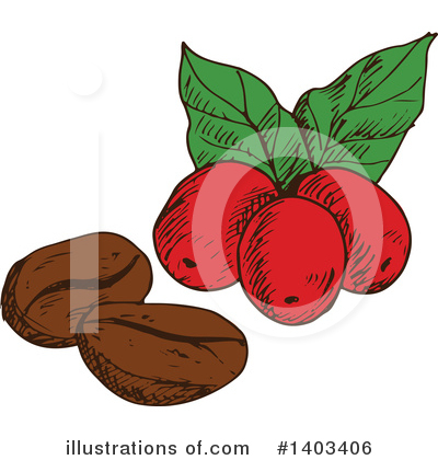 Coffee Berry Clipart #1403406 by Vector Tradition SM