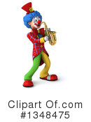 Royalty-Free (RF) Colorful Clown Clipart Illustration #1348475