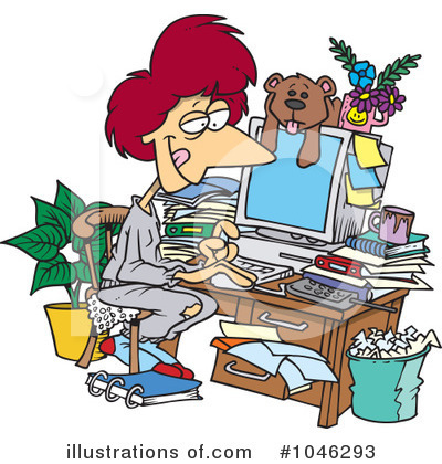 Working On Computer in Pajamas Clip Art Free
