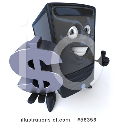 Computer Tower Character Clipart #56356 by Julos