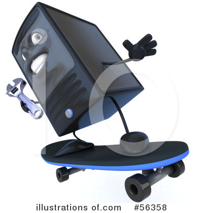 Royalty-Free (RF) Computer Tower Character Clipart Illustration by Julos - Stock Sample #56358