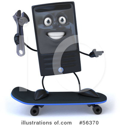 Royalty-Free (RF) Computer Tower Character Clipart Illustration by Julos - Stock Sample #56370