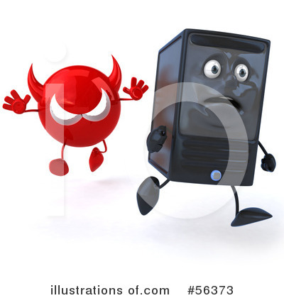 Computer Tower Character Clipart #56373 by Julos