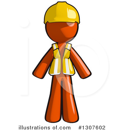 Contractor Orange Man Clipart #1307602 by Leo Blanchette